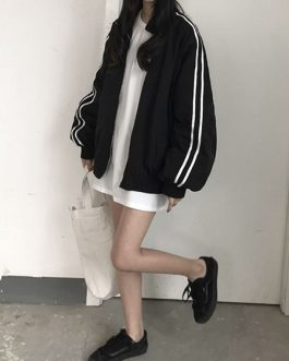 Side Striped Zipper Stand Baseball Jacket