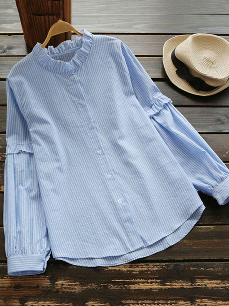 Stand Collar Long Sleeve Blouse 2