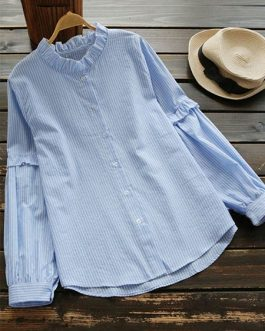 Stand Collar Long Sleeve Blouse