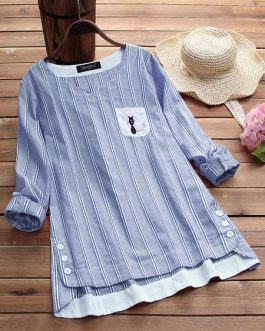 Stripe Cat Embroidered Patchwork Blouse