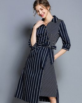 Striped Shirt Dress Buttons Irregular Midi Dress