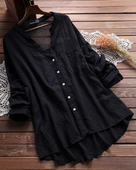 Through Long Sleeve Pocket Blouse