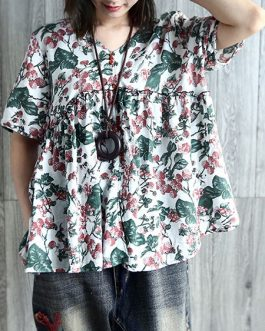 V Neck Pleated Floral Vintage Blouse