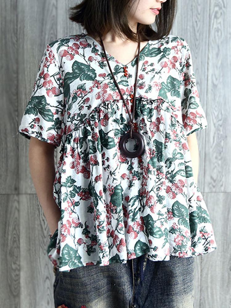 V Neck Pleated Floral Vintage Blouse1