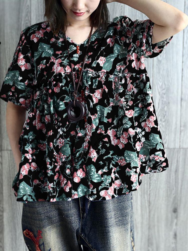 V Neck Pleated Floral Vintage Blouse4