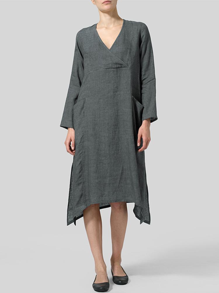 V Neck Pockets Solid Color Vintage Dress