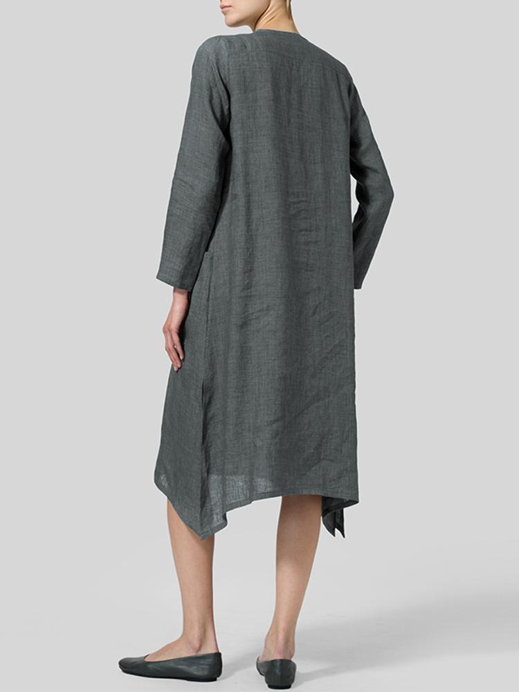 V Neck Pockets Solid Color Vintage Dress1