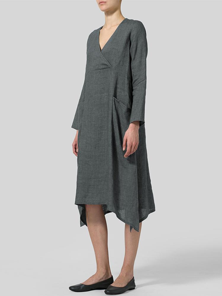 V Neck Pockets Solid Color Vintage Dress2