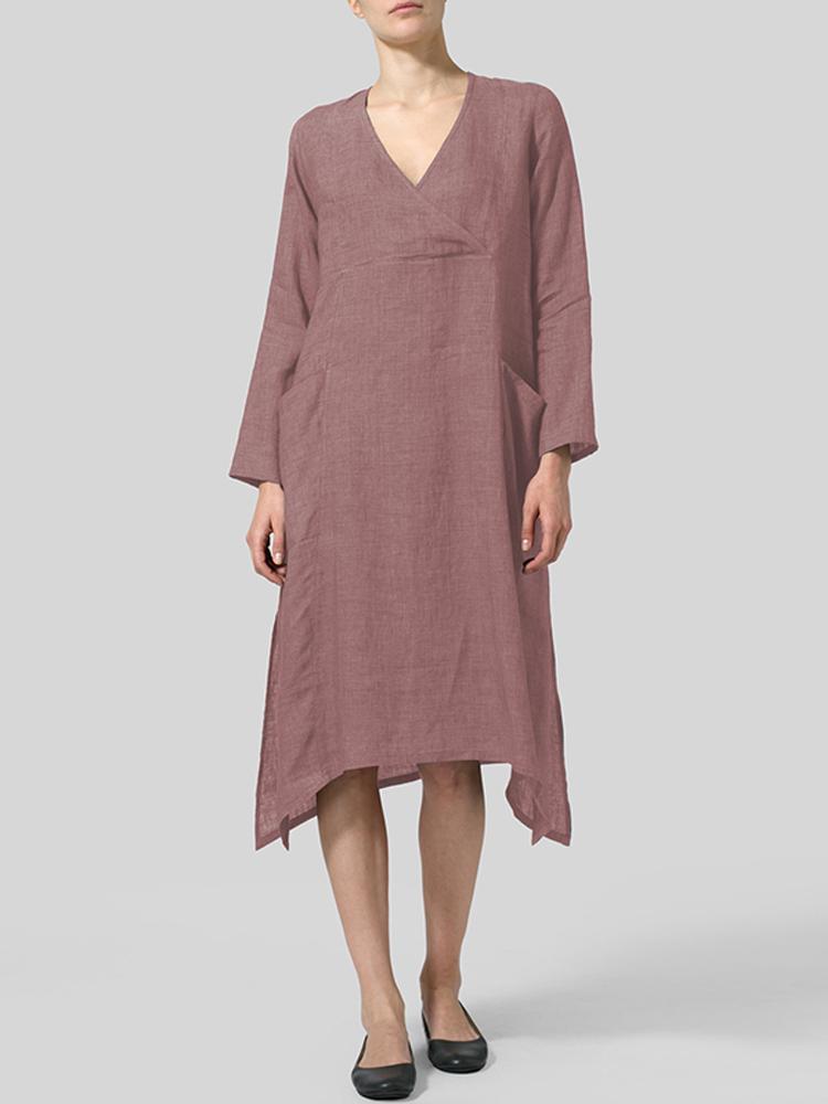 V Neck Pockets Solid Color Vintage Dress3