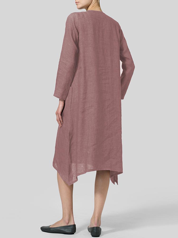 V Neck Pockets Solid Color Vintage Dress4