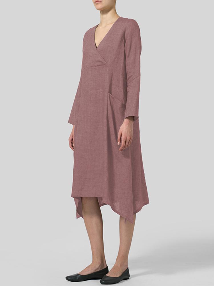 V Neck Pockets Solid Color Vintage Dress5