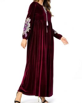 Velvet embroidered long sleeve maxi dress