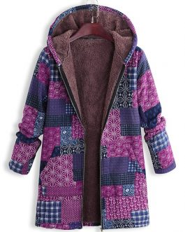 Vintage Block Printing Hooded Coat