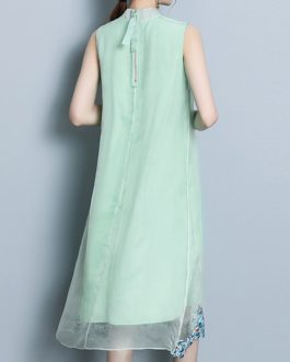 Vintage Embroidery Sleeveless Mid-long Dress
