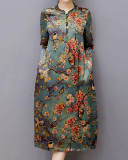 Vintage Print Cheongsam Dresses
