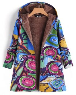 Vintage Print Hooded Coats