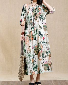 Vintage Print Pleated Women Dresses