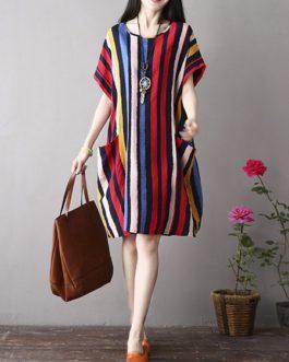 Vintage Women Color Stripe  Short Sleeve Dress