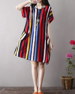 Vintage Women Color Stripe  Short Sleeve Dress