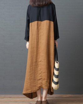 Vintage Women Cotton Loose Patchwork Dress
