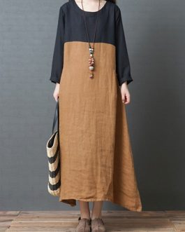 Vintage Women Cotton Loose Patchwork Dress