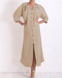Vintage Women Cotton  Split Hem Button Dress