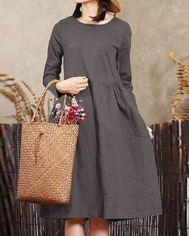 Vintage Women Crew Neck Mid Long Dress