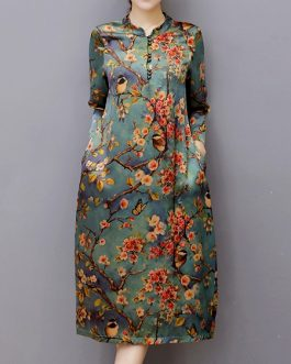 Vintage Women Floral Printed Midi Dress