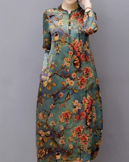 Vintage Women Floral Printed Midi Dress