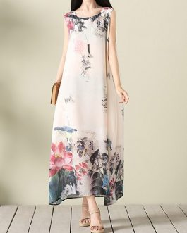Vintage Women Lotus Printed O-Neck Sleeveless Maxi Dress