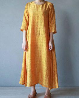 Vintage Women O-neck Half Sleeve Solid Maxi Dress