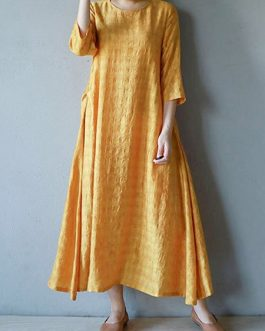 Vintage Women O-neck Half Sleeve Solid Maxi Dress
