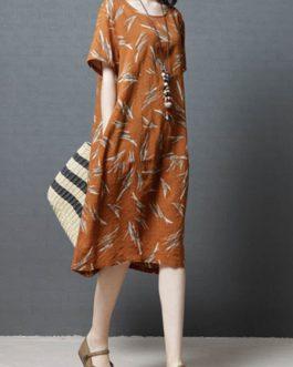 Vintage Women Printed Cotton Short Sleeve Dress