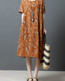 Vintage Women Printed Cotton Short Sleeve Dress