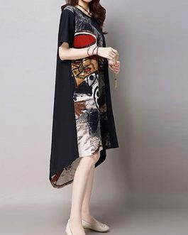 Vintage Women  Printed Patchwork High Low Dress