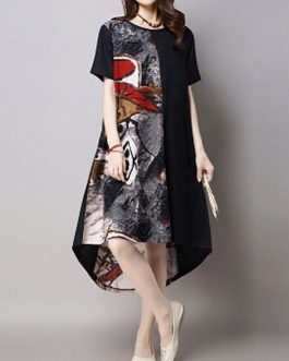 Vintage Women  Printed Patchwork High Low Dress