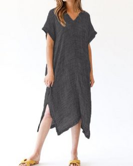 Vintage Women Retro Batwing Sleeve Dress