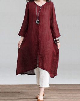 Vintage Women Solid Loose Round Neck Dress