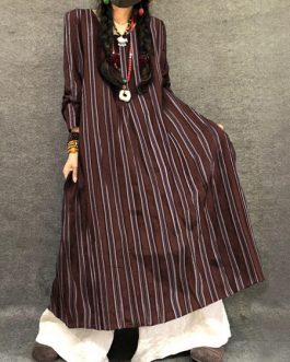 Vintage Women  Striped Crew Neck Long Sleeve Dress