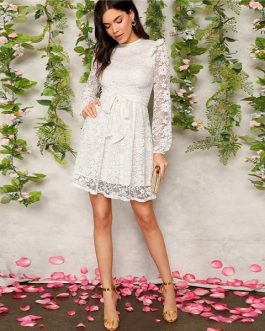 White Zip Back Ruffle Shoulder Belted Lace Spring Dresses