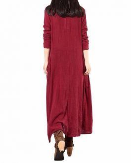 Women Buttons Vintage Long Maxi Dress
