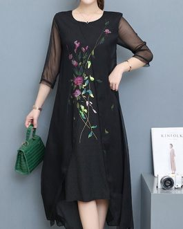 Women Floral Embroidery Fake Two Pieces Mid-long Dress