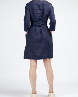 Women Loose Cotton  Dress with Detachable Girdle