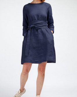Women Loose Cotton  Dress with Detachable Girdle