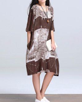 Women Vintage Cotton Linen Print Kaftan Style Dress