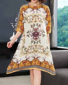 Women Vintage Printing Floral Irregular Dress