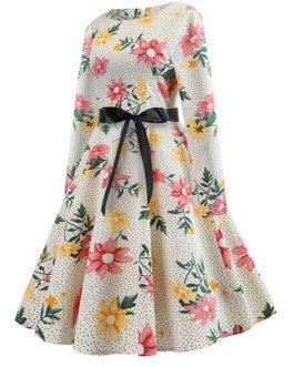 Women's Sweet Long Sleeve Floral Pattern Aline Dress