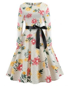Women's Sweet Long Sleeve Floral Pattern Aline Dress