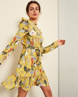 Yellow Floral Frill Trim Botanical Dress