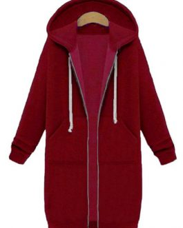 Zipper Long Sleeve Hooded Coat